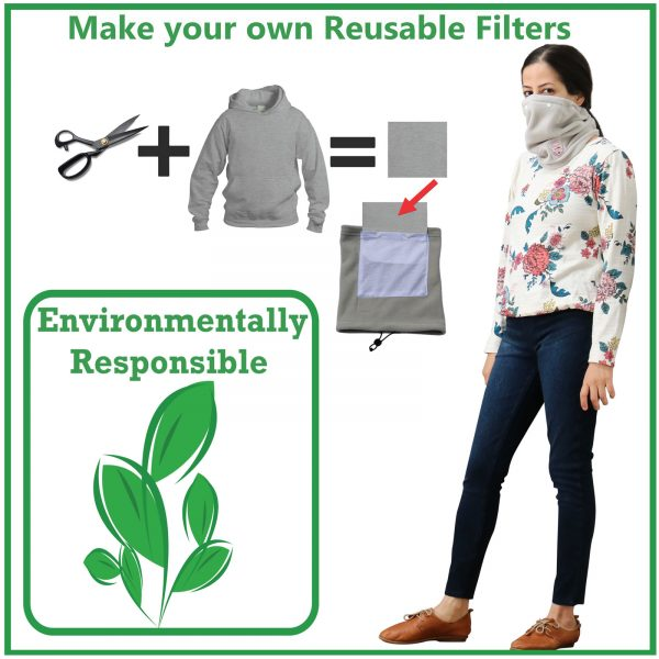 Environmentally Friendly DIY Filter Face Mask and Face Cover for Slick Gaiter Neck Gaiter by LuxeAvant