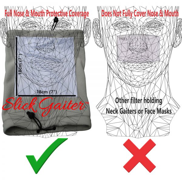 Neck Gaiter Filter Fully Covers Nose and Mouth for Complete Protection using Slick Gaiter Washable Cloth Filters
