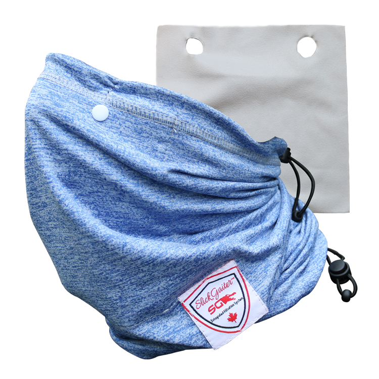 Slick Gaiter Face Mask 3-Ply Filter Pocket Neck Gaiter with Washable Reusable Air Filter and Adjustable Bungee Straps 4-Layer Protection Dust Mask UV-Blocking Cooling Bandana